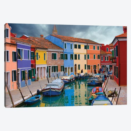 Brightly Colored Architecture Along The Canal, Burano, Venetian Lagoon, Italy Canvas Print #JZU4} by Jim Zuckerman Canvas Wall Art