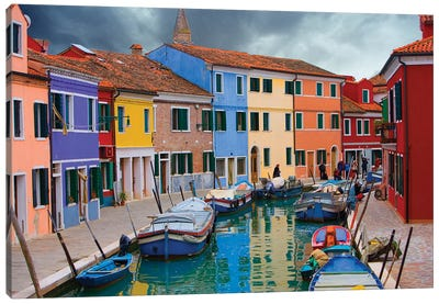 Brightly Colored Architecture Along The Canal, Burano, Venetian Lagoon, Italy Canvas Art Print