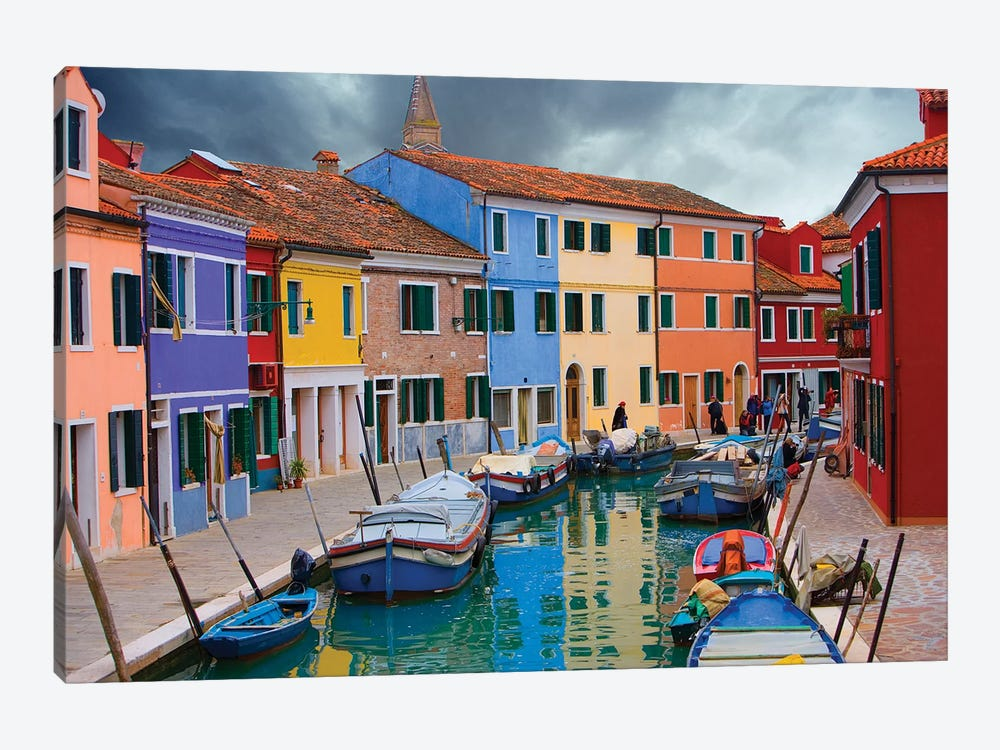 Brightly Colored Architecture Along The Canal, Burano, Venetian Lagoon, Italy by Jim Zuckerman 1-piece Canvas Wall Art