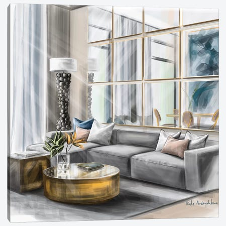 Living Room In The Morning Canvas Print #KAA19} by Kate Andryukhina Art Print