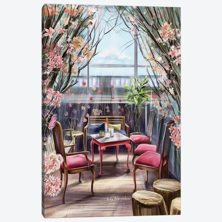 A Back Yard Garden In A Restaurant Canvas Print #KAA1} by Kate Andryukhina Canvas Artwork