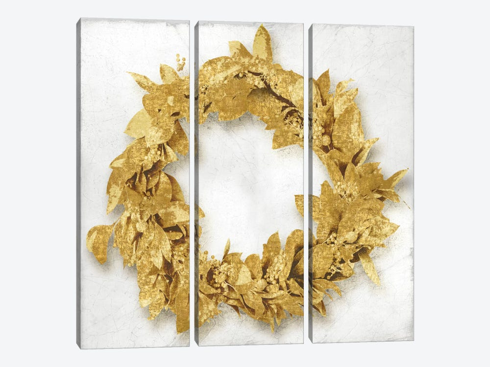 Golden Wreath I by Kate Bennett 3-piece Canvas Art Print