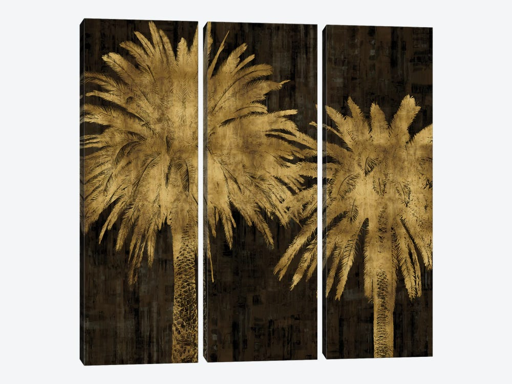 Palms In Gold II by Kate Bennett 3-piece Canvas Art Print