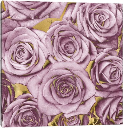 Roses - Amethyst On Gold Canvas Art Print