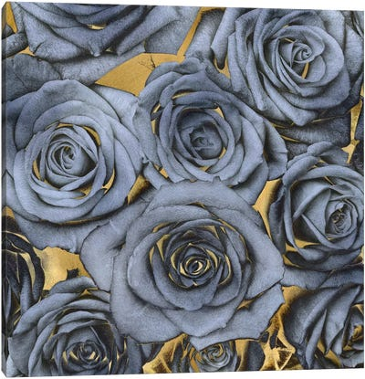 Roses - Blue On Gold Canvas Art Print