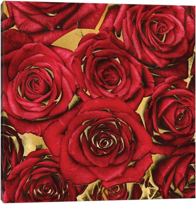 Roses - Red On Gold Canvas Art Print