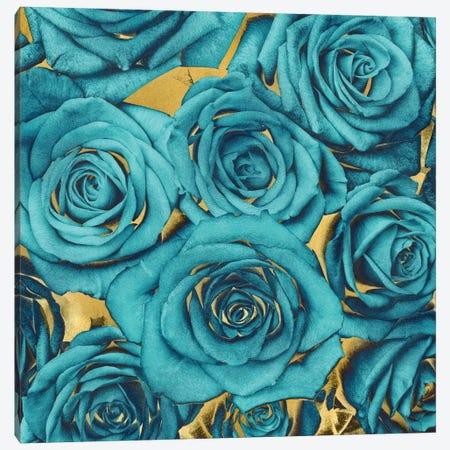 Roses - Teal On Gold Canvas Print #KAB37} by Kate Bennett Art Print