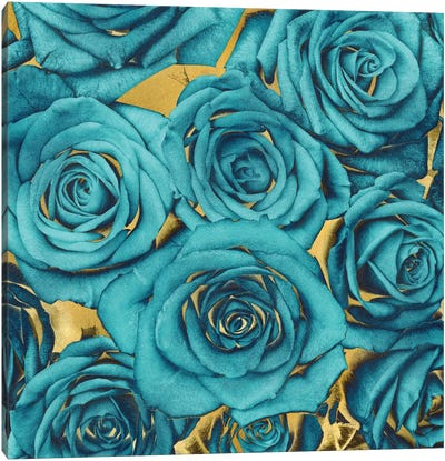 Roses - Teal On Gold Canvas Print #KAB37