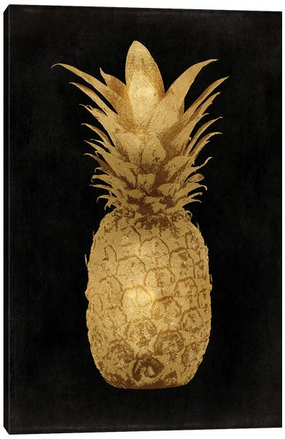 Gold Pineapple On Black I Canvas Art Print