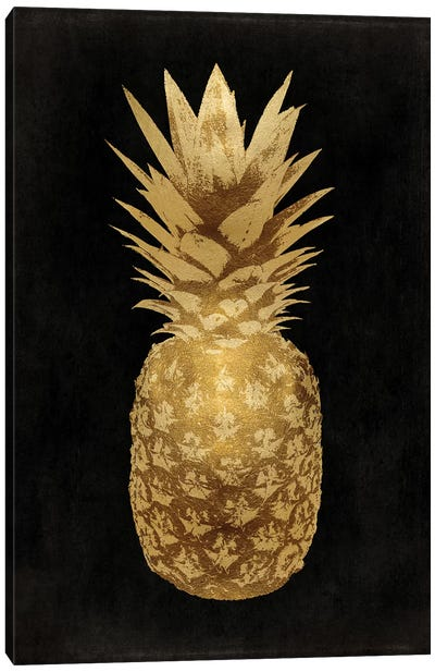 Gold Pineapple On Black II Canvas Art Print