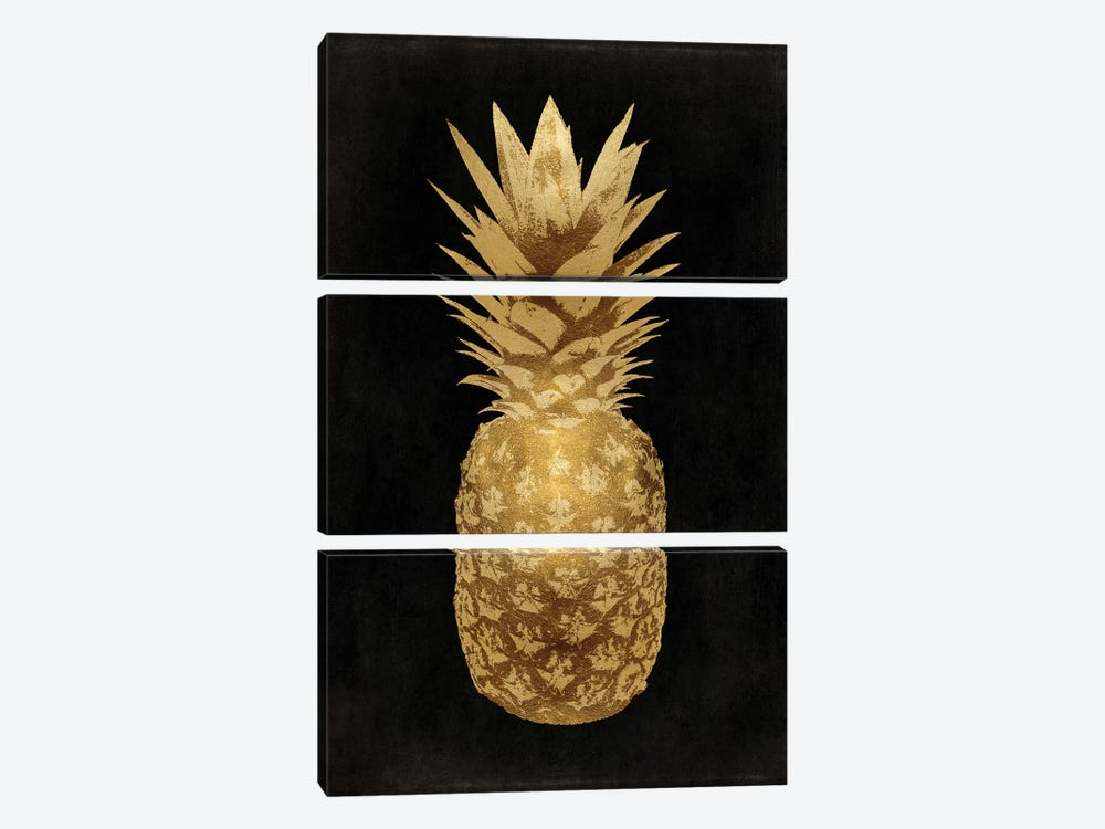 Gold Pineapple On Black II by Kate Bennett 3-piece Canvas Artwork