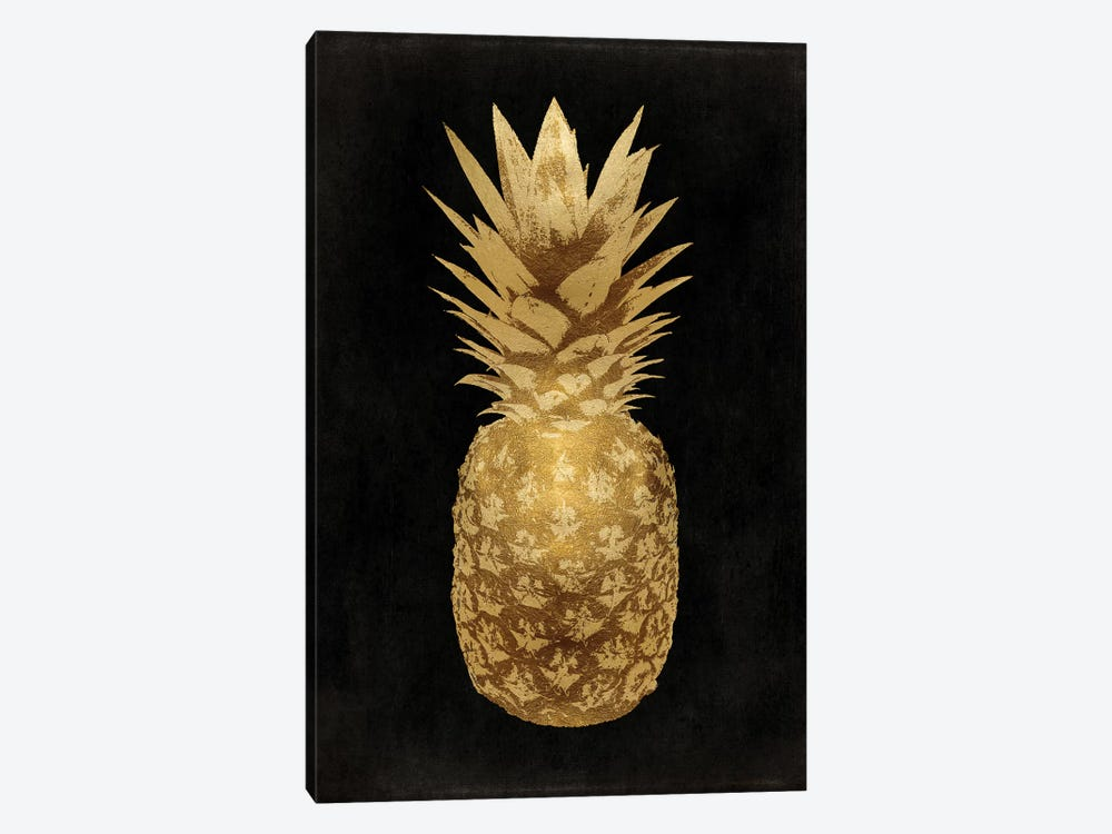 Gold Pineapple On Black II by Kate Bennett 1-piece Canvas Artwork