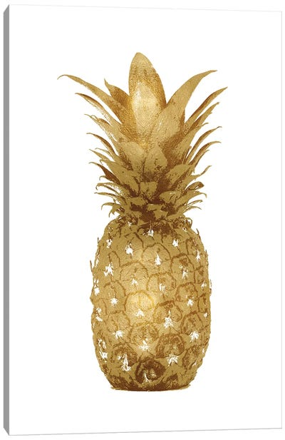 Gold Pineapple On White I Canvas Art Print