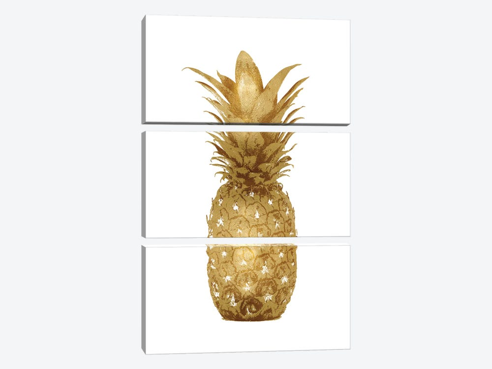 Gold Pineapple On White I by Kate Bennett 3-piece Canvas Art Print