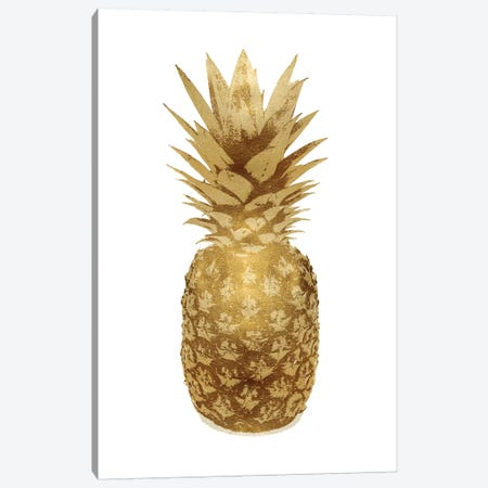 Gold Pineapple On White II Canvas Print #KAB47} by Kate Bennett Canvas Art