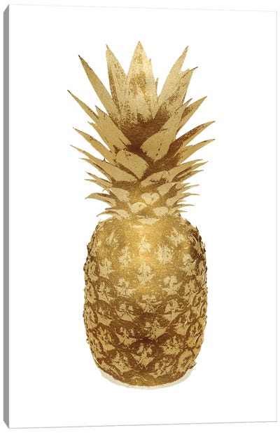 Gold Pineapple On White II Canvas Art Print