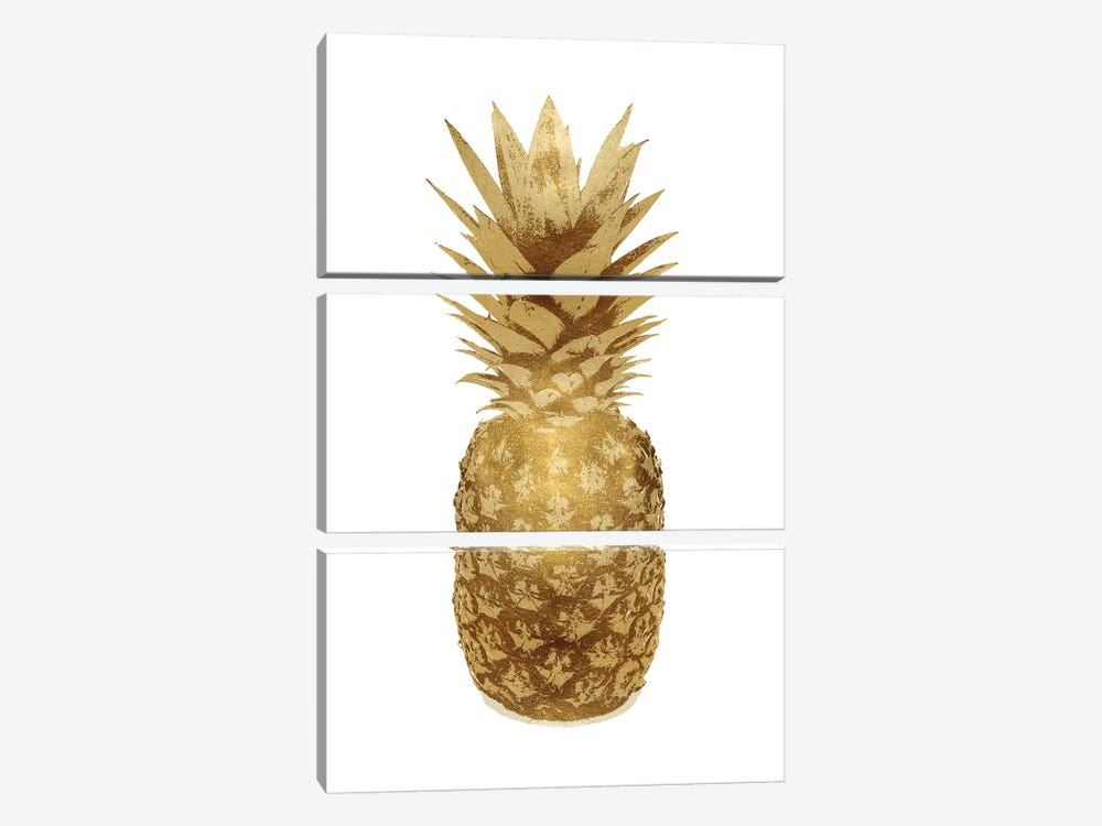 Gold Pineapple On White II by Kate Bennett 3-piece Canvas Art