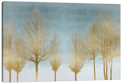 Gold Forest On Aqua Canvas Art Print
