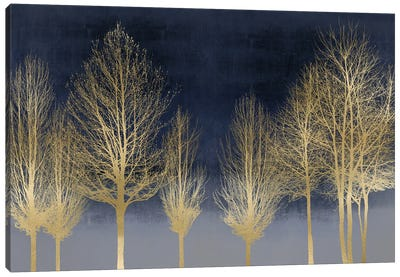 Gold Forest On Blue Canvas Art Print