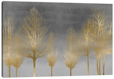 Gold Forest On Gray Canvas Art Print