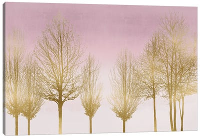 Gold Forest On Pink Canvas Art Print