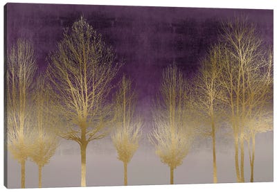 Gold Forest On Purple Canvas Art Print