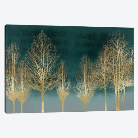 Gold Forest On Teal Canvas Print #KAB66} by Kate Bennett Canvas Artwork