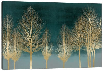 Gold Forest On Teal Canvas Art Print