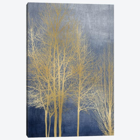Gold Trees On Blue Panel I Canvas Print #KAB71} by Kate Bennett Canvas Wall Art