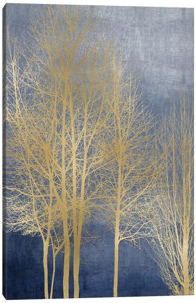Gold Trees On Blue Panel I Canvas Art Print