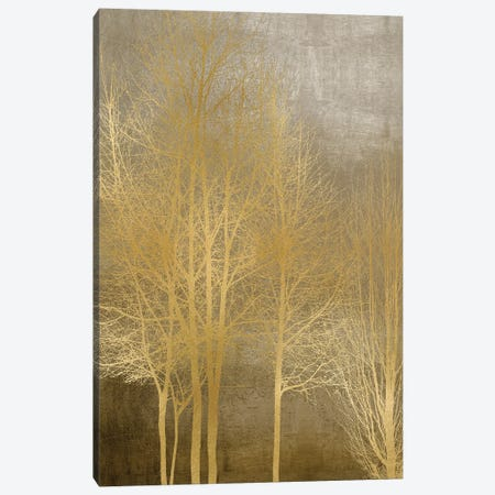 Gold Trees On Brown Panel I Canvas Print #KAB73} by Kate Bennett Canvas Artwork