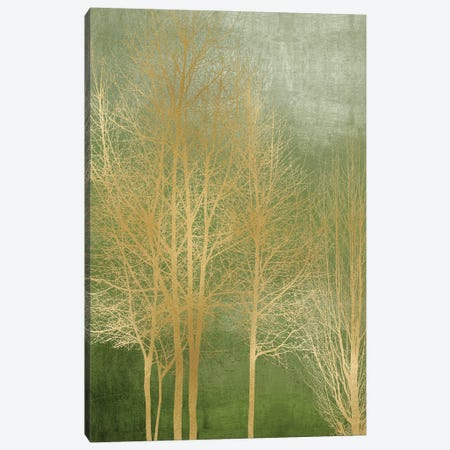 Gold Trees On Green Panel I Canvas Print #KAB77} by Kate Bennett Art Print