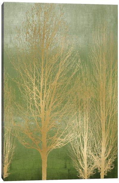 Gold Trees On Green Panel II Canvas Art Print