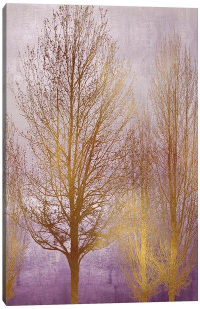 Gold Trees On Purple Panel I Canvas Art Print