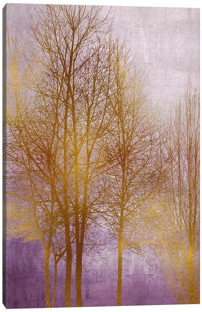 Gold Trees On Purple Panel II Canvas Art Print