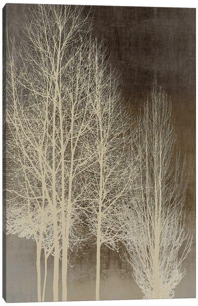 Trees On Brown Panel I Canvas Art Print