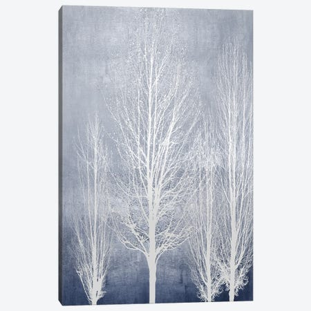 White Trees On Blue Panel II Canvas Print #KAB99} by Kate Bennett Canvas Wall Art