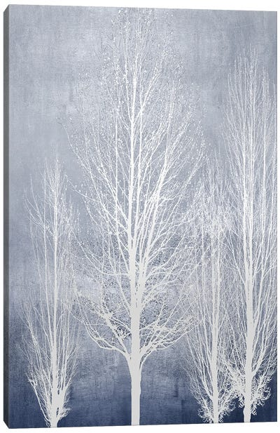 White Trees On Blue Panel II Canvas Art Print