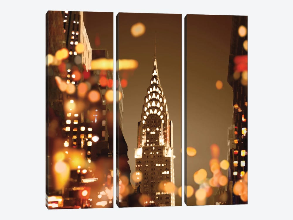 City Lights-New York 3-piece Canvas Wall Art