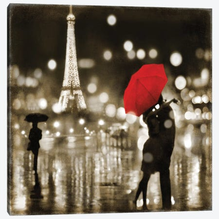 A Paris Kiss Canvas Print #KAC1} by Kate Carrigan Canvas Art