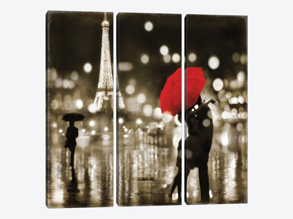 A Paris Kiss by Kate Carrigan 3-piece Canvas Print