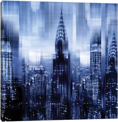 NYC - Reflections In Blue I Canvas Art Print