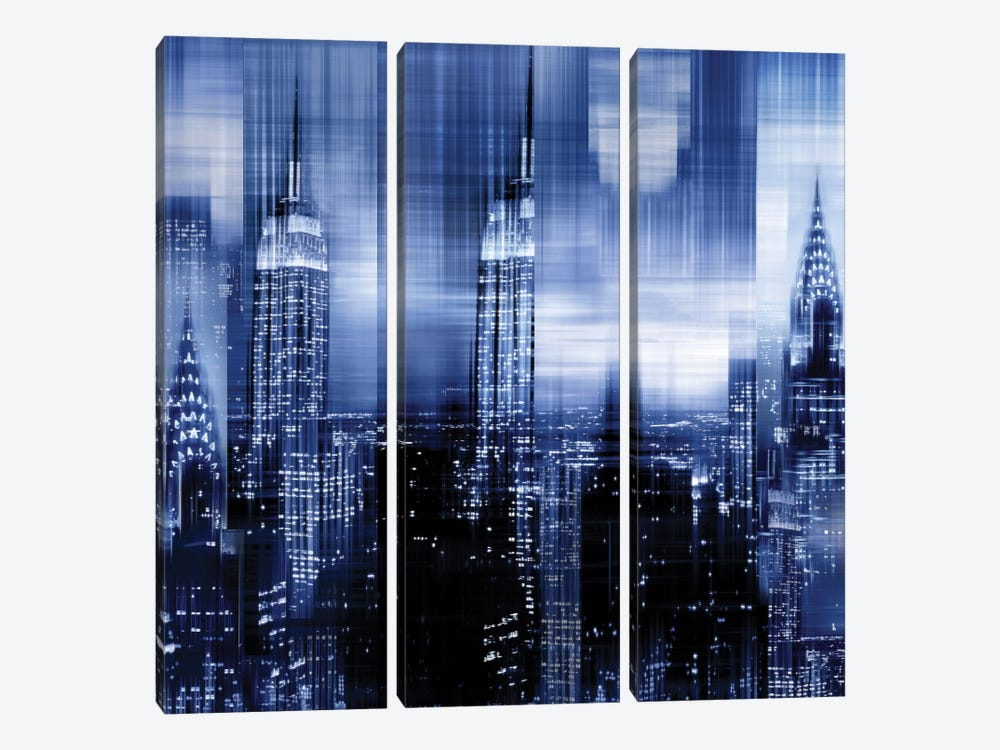 NYC - Reflections In Blue II by Kate Carrigan 3-piece Canvas Wall Art