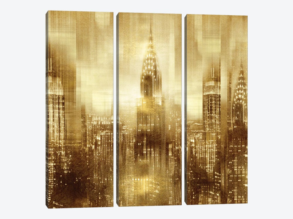 NYC - Reflections In Gold I by Kate Carrigan 3-piece Canvas Art Print