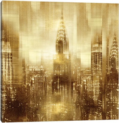 NYC - Reflections In Gold I Canvas Art Print