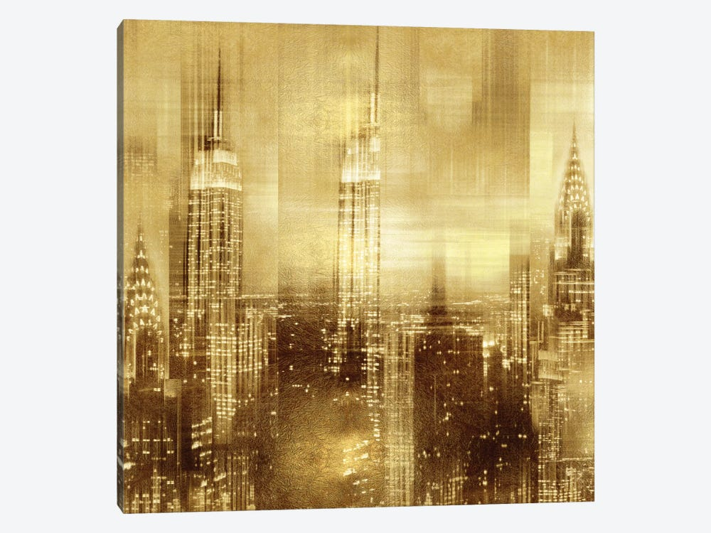 NYC - Reflections In Gold II by Kate Carrigan 1-piece Canvas Art