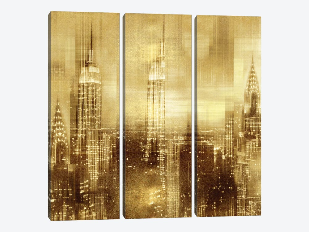 NYC - Reflections In Gold II by Kate Carrigan 3-piece Canvas Wall Art