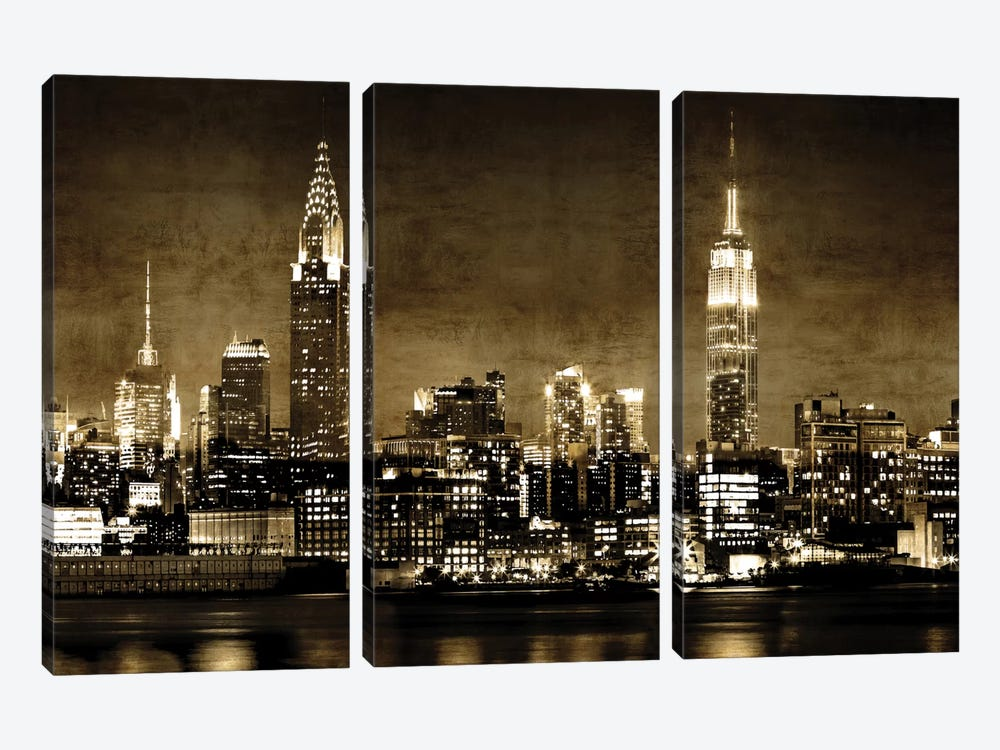 NYC In Sepia by Kate Carrigan 3-piece Canvas Print