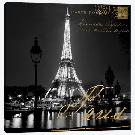 Paris At Night Canvas Print #KAC41} by Kate Carrigan Canvas Wall Art