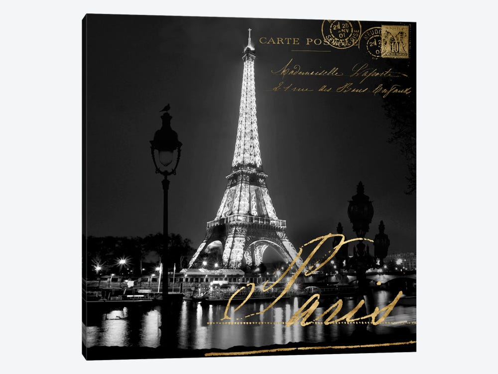 Paris At Night by Kate Carrigan 1-piece Canvas Art Print